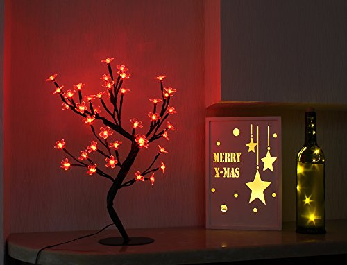 Bolylight LED Cherry Blossom Table Tree Lamp Night Light Centerpiece 16.73 inch 40L Great Decoration for Home/Christmas/Party/Festival/Wedding, Red