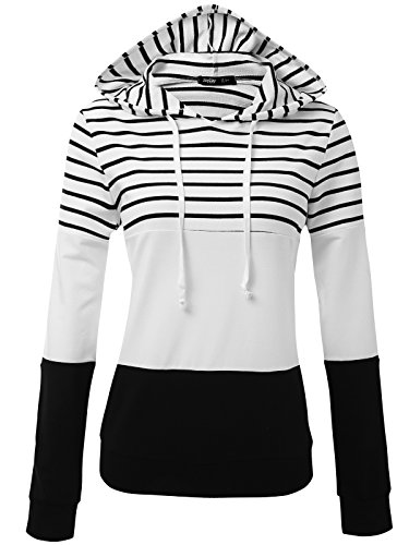 JayJay Women Casual Athleisure Long Sleeve Striped Contrast Color Pullover Hoodie Sweater Shirt,Black,M