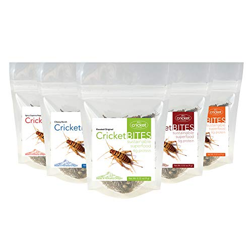 (Cricket Bites Gift 5-Pack of Assorted Flavors (North American Crickets - Made in Portland, Oregon) by Cricket Flours)