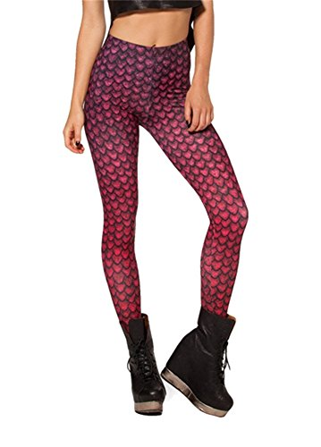 Zanuce Women's Digital Print Cartoon Slim Fit Stretch Tights Leggings(Dragon Egg Red) (Dragon Lady Red Costume)