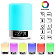 Elecstars Bedside Lamp with Bluetooth Speaker, Touch Control Night Light, Warm Relaxing LED Colors for Better Sleep, Great for Living Room and Bedroom, Best Gifts for Women Men Teens Kids Children