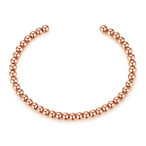REVEMCN 4mm Polished Finish Stainless Steel Beads Cuff Bangle Bracelet for Girls Women, 3 Colors (Rose Gold)