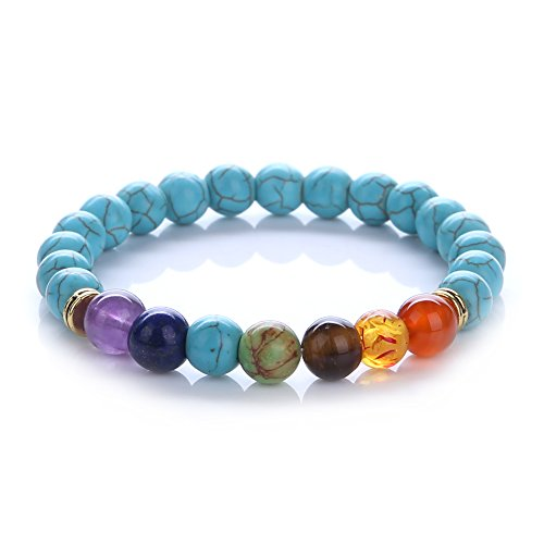 Genuine Precious Stone (KISSPAT Natural Gemstone Bracelet Semi Precious Stones Crystal Healing Stretch Beaded Bracelet Unisex)