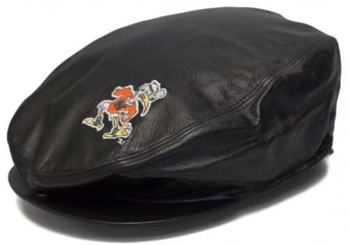 New! University of Miami Leather Beret Style Hat - Paper Boy/Cabbie/Captain (Miami Hurricanes Leather Football)