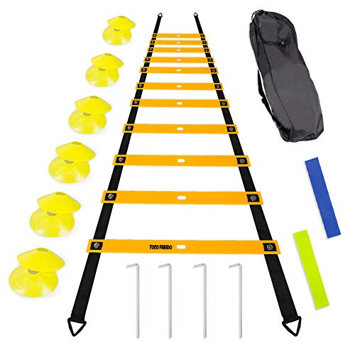 TOCO FERIDO 20ft Agility Ladder Set with 12 Rungs, 12 Sports Disc Cones, 4 Metal Pegs, 2 Resistance Bands, 1 Carry Bag - for Soccer, Football, Speed Training and Agility ()