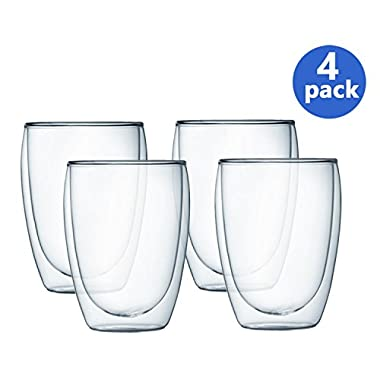 Bodum Pavina Double Wall Glass, 12-Ounce, Set of 4