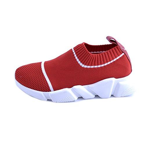 Rayures N Slip Sol En 38 Blanches Caoutchouc De Avec Tricot Sneakers Modèle on Des Giulia Rouge Montée Pour Nati Femme Antidérapant OXqggdw