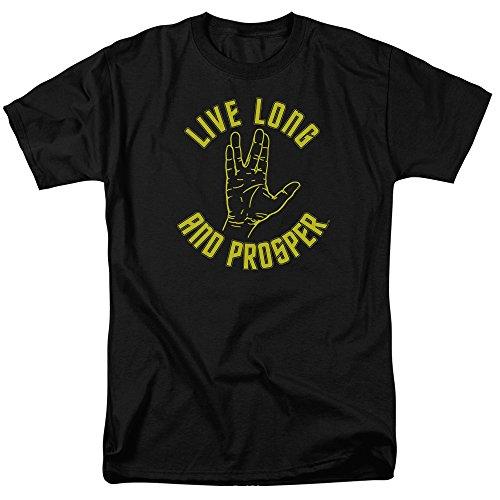 Star Trek Live Long Hand Mens Short Sleeve Shirt 3X Black