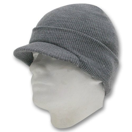 Decky Knit Visor Beanie (Decky Cuffed Knit Visor Beanie Jeep Cap (One Size, Heather Grey))