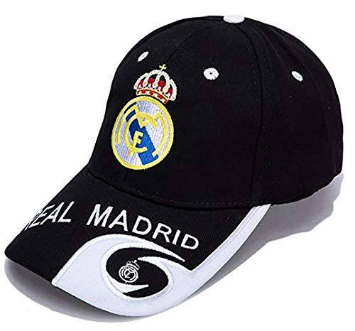 ZQfans World Football Club Embroidered Baseball Cap Soccer Team Logo Adjustable Cap for Soccer Fans (Real Madrid-Black, One-Size)