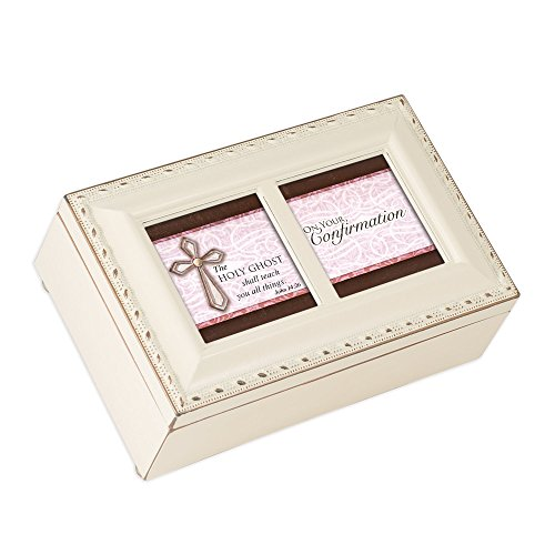 (Cottage Garden Confirmation Holy Ghost Shall Teach Matte Ivory Jewelry Music Box Plays Ave Maria)