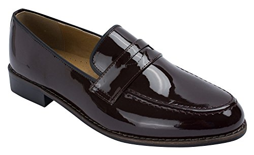 Mens Classique Brevet Moc Toe Penny Loafer Slip-ons Noir Marron Marron