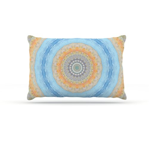 Kess InHouse Iris Lehnhardt ''Summer Mandala'' Fleece Dog Bed, 30 by 40-Inch, Circle Orange/Blue by Kess InHouse