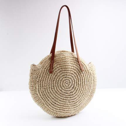 - Round Straw BeacHandbag Vintage Hand Made Woven Shoulder Bag Raffia Circle Rattan Bohemian Summer Vacation Casual Bags Beige