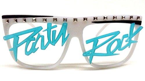 Glow in the Dark Party Rock Wayfarer Sunglasses White Frame Blue - Party Glasses Rock