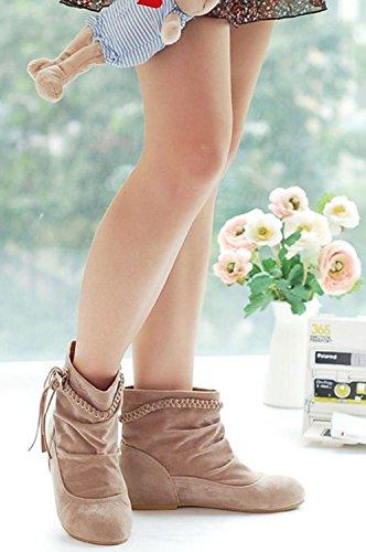 De Calentar Botines Beige Zapatos Mujer Moda Flecos Cargadores Minetom Otoño E Cómodo Invierno Botas xqYUgBI4w
