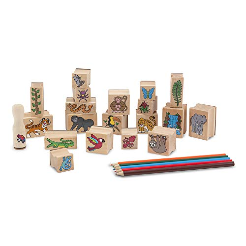 Melissa & Doug Stamp-a-Scene Stamp Set: Rain Forest (20 Wooden Stamps, 5 Colored Pencils, and 2-Color Stamp Pad, Great Gift for Girls and Boys - Best for 4, 5, 6 Year Olds and Up)