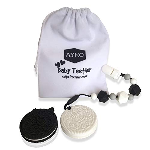 Ayko Baby Teether Pacifier Clip, 2pcs – Pain Relief Silicone Cookie Teether Toy Newborn Boys Girls – Unique Toddler Trendy Food Grade BPA Free Chew Toy Black & White