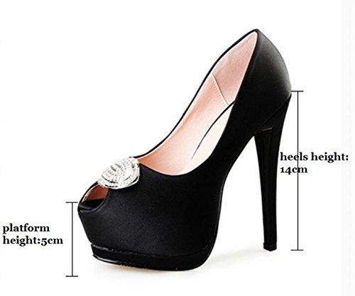 Tacón Cabeza Para Zapatos Pescado Plataforma De Zapatos Rojo De NBWE Mujer Nupciales De Sandalias De Satén Alto De Eq1nx8a