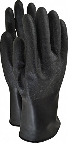 Honeywell B161R/7 16 mil Unsupported Butyl Chemical Resistant Gloves with Rough Grip, Safe Palm Finish and Rolled Beaded Cuff, Size 7, Black, 11'' by Honeywell (Image #1)