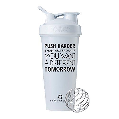 Push Harder 28oz Classic Blender Bottle Shaker Cup,Motivation on the Best Protein Shaker (White - 28 oz)