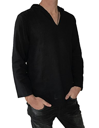(Men's Hoodie Hippie Shirts Beach 100% Soft Cotton Top Yoga Shirt Boho (Medium, Black))