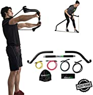 Gorilla Bow Portable Home Gym Resistance Bands and Bar System for Travel, Fitness, Weightlifting and Exercise Kit, Full Body