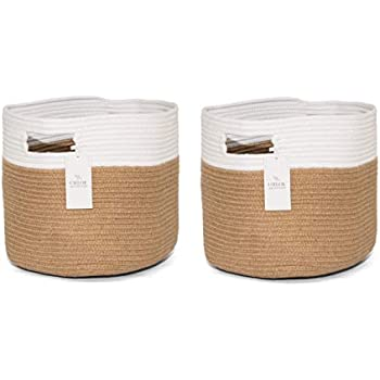 Poly Cotton Material Round Multipurpose Storage Navy Time Concept Set of 2 Boho Cotton and Jute Basket Home Decor