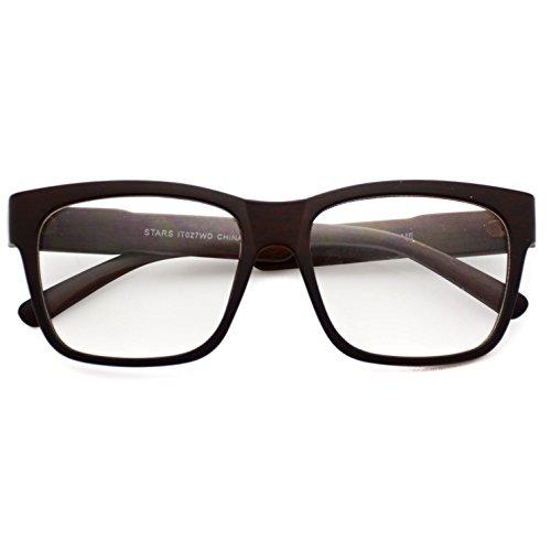 Wood Print Rectangular Clear Lens Nerd Glasses Dark Brown