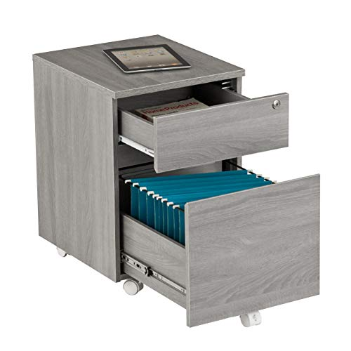 Pack of 1 Techni Mobili Rolling 2 Drawer Vertical Filing Cabinet with Lock and Storage Grey