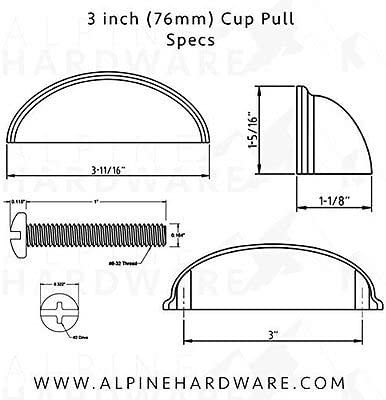 5pk Oil Rubbed Bronze /… 3 Inch Hole Centers 76mm Cabinet Hardware Bin Cup Drawer Handle Pull