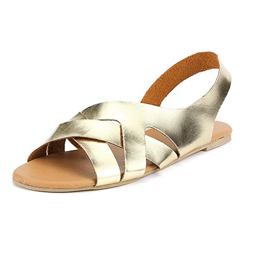 (Answerl Women Flat Sandals Criss-Cross Open Toe Wide Fashion Summer Shoes Slip On Casual Sandals Gold)
