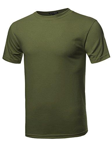 Basic Loose Heavyweight Crewneck Short Sleeve Cotton T-shirt Olive L