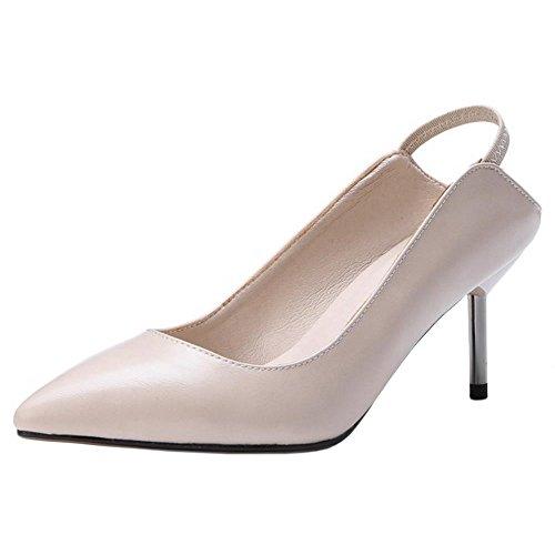 COOLCEPT Damen Kitten Heel Pumps Schuhe Strap Nude Color