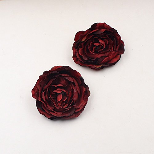 Artificial silk flowers Fake flowers heads 9cm Tree Peony Head For party festival Home Decor Wedding Decoration DIY Scrapbooking Handmade Craft Accessories Wreath Flower 5pcs (burgundy) from Artificial silk flowers