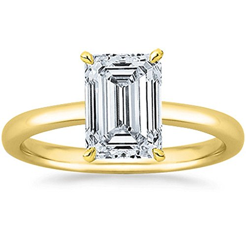 1 Carat GIA Certified 18K Yellow Gold Solitaire Emerald Cut Diamond Engagement Ring (1 Ct G-H Color, I1 (Emerald Diamond Solitaire)