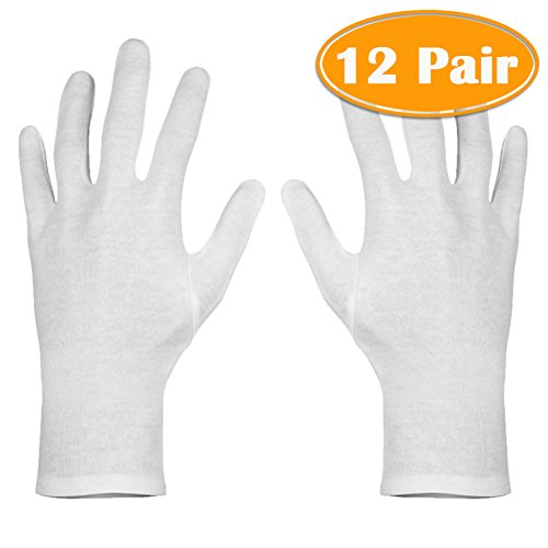(Paxcoo 12 Pairs XL White Cotton Gloves for Dry Hand Moisturizing Cosmetic Eczema Hand Spa and Coin Jewelry Inspection)