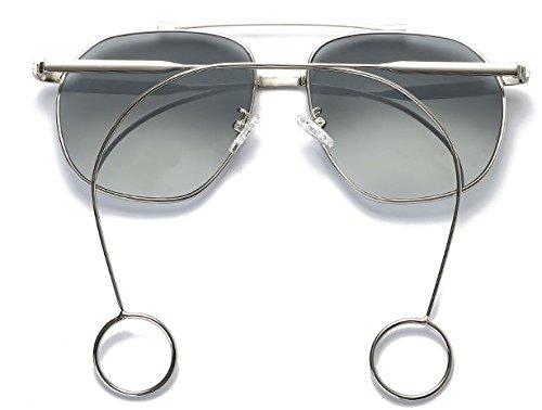 Marco de Espejo La Hoja Arete Personalidad Plano negra Mujer de Dorado Transparente Sol Intellectuality ceniza Gafas Metal Marco plateado wqfxIgPCC
