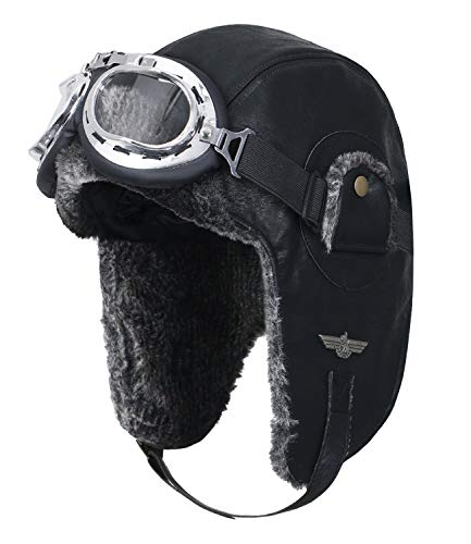 ililily Howels Faux Leather Aviator Trapper Trooper Faux Fur Ear Flaps Hat, Black/Silver