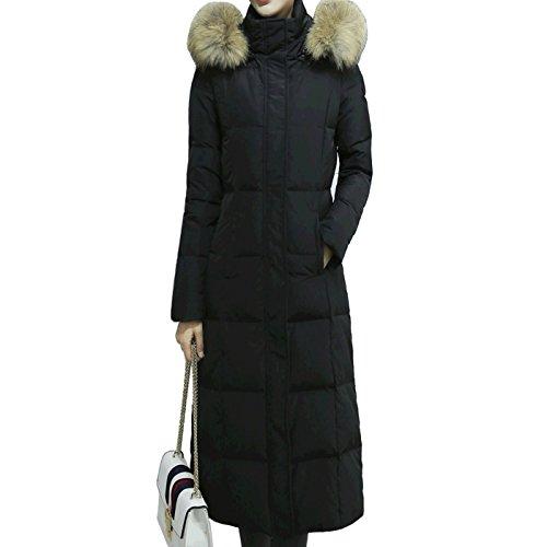 Pingora Womens Winter Thickened Warmest Hot Long Down Puffer Jacket Coat Parka (Deep Black, M) (Winter Warmest Coat)