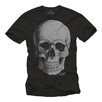 Cooles Biker T-Shirt Skull Totenkopf schwarz