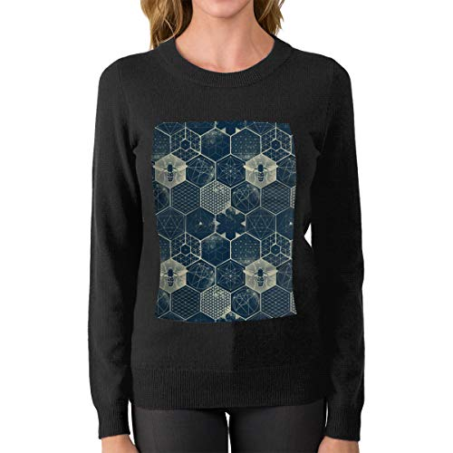 JGW87O&& Women's Crew Neck Sweater, Fashion The Honeycomb Conjecture Pattern Sweater Jumper for Women