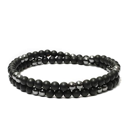 Beaded Two Layer Double Wrap Mens Bracelet Handcrafted with Gemstones Matte & Polished 6mm Bead - Black Onyx & ()