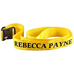 Personalized Luggage Strap – Adjustable Suitcase Belt Travel Tag Customized with Name – Yellow