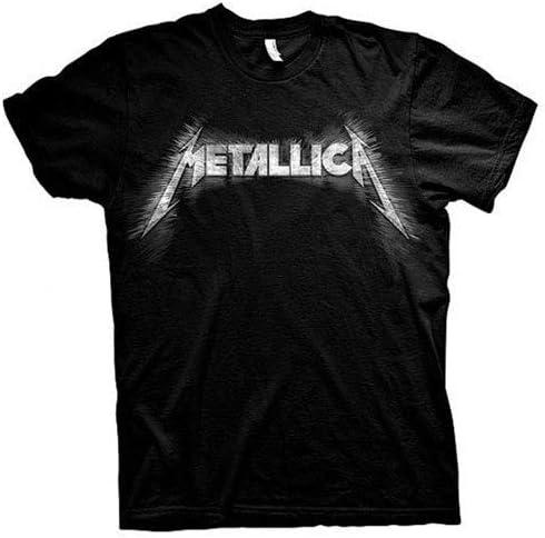 Spiked Logo Official Men/'s Black T-Shirt Metallica