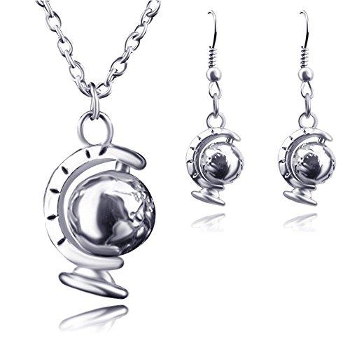 1pc Women Gift Rotatable Jewelry Necklace Mini Globe World Pendant IO1C