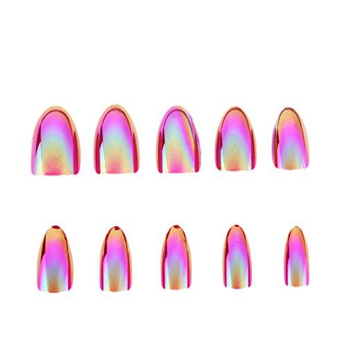 12Pcs False Nails Tips Mirror Chrome Pigment Effect UV Gel Fake Nail Art Tools 03 ()