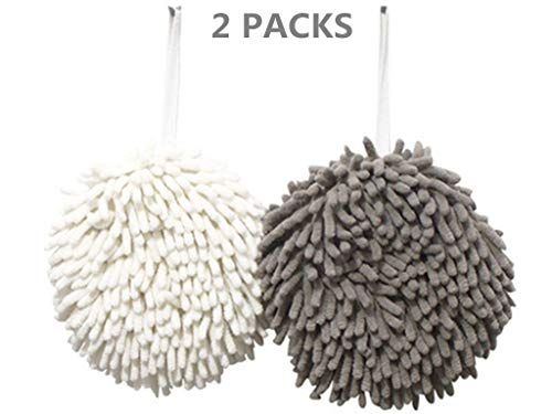 IvyMei 2 Pack Chenille Hand Towels,Hanging Kitchen Hand Towels,Bathroom Hand Towels with Loop,Quick Dry Hand Bath Towel,Soft Absorbent Microfiber Hand Towels(Grey+White) ()
