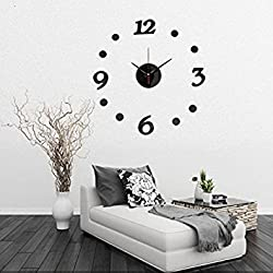 3D DIY Number Decal Frameless Wall Clock Room Decoration(Random: Color)