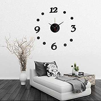 Clock 22Pcs 3D DIY Mirror Wall Sticker TV Backdrop Decoration Removable - 1